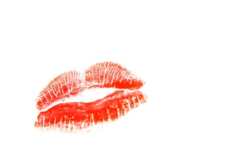 Lipstick kiss on white background
